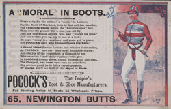 Advert for Pocock Brothers, boot & shoe manufacturers, reverse side
